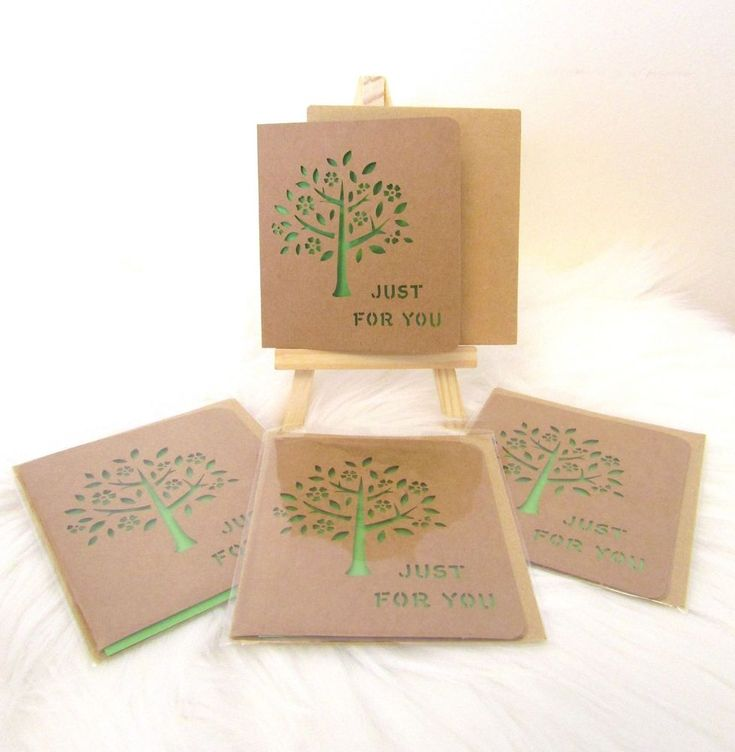 NEW 4 Sets Mini Tree of Life Gift Cards & Envelopes - Just for You - Green