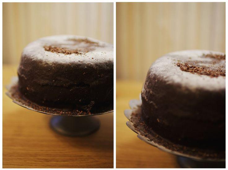 Chocolate cake with caramel and ganache