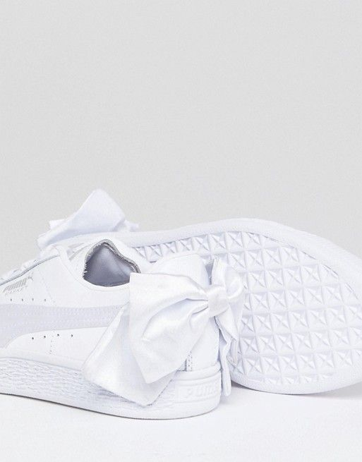 c19a7deae44 Puma Suede Bow Sneakers In White in 2019