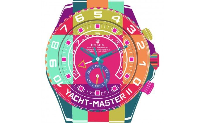 Yacht Master II Blue / Green POP ART Watch On White - Limited Edition of 20 only