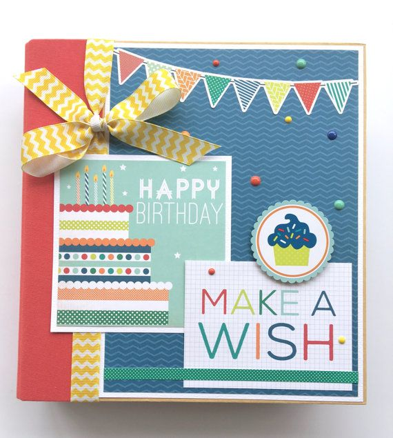This scrapbook album is available as a DIY kit or pre-made and will make a wonderful keepsake for pictures of a fun birthday celebration. Colorful paper from Echo Park and lots of embellishments adorn the 12 pages and covers of this wonderful album. At least 35 photos will fit on the double-sided scrapbook pages and even more pictures can slide into the divided plastic photo sleeves that are included.  The title on the cover says Happy Birthday ... Make A Wish and other pages say…
