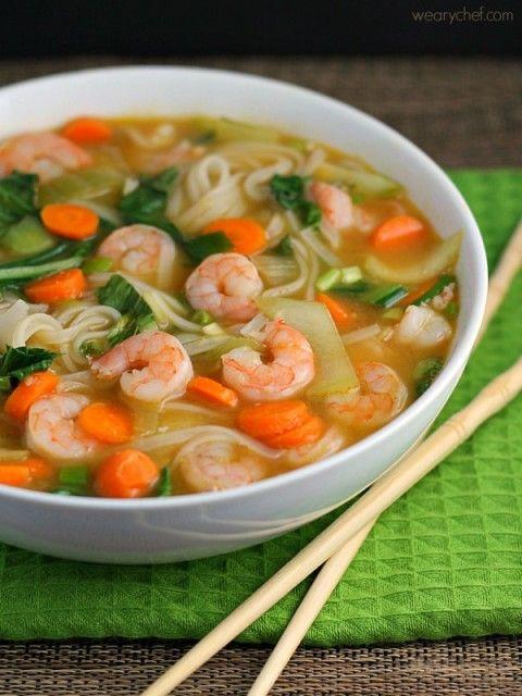Asian Noodle Soup with Shrimp - wearychef.com