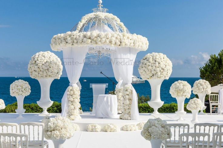 Overlooking the sea, wedding ceremony houppa. Wedding by Monte-Carlo Weddings.