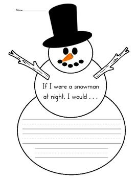 """This writing prompt can be used with """"Snowmen at Night"""" by Caralyn Buehner. Students will write what they would do at night if they were a snowman."""