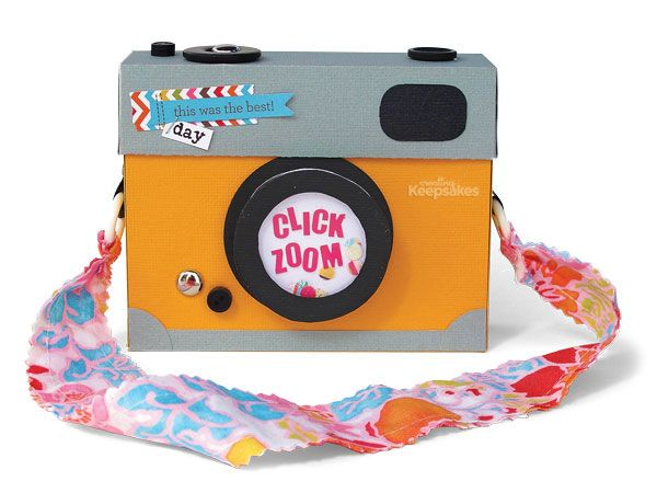 Mini book in the shape of a camera created by kim watson ★ paper crafts ★ designs as seen in the All About Albums special 2013 issue. http://www.scrapandpapershop.com/product/creating-keepsakes-all-about-albums/creating-keepsakes