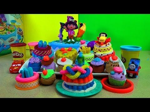 Play-Doh Cake Makin' Station - Creating 14 cakes with a FUN ending as Dora uses it as a Carousel