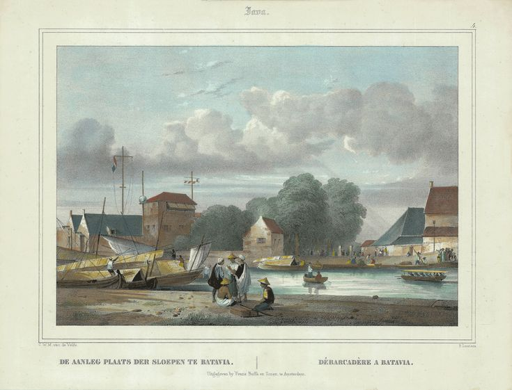 Loading Dock in Batavia, 1844 Loading Dock in Batavia ( Van der Velde 1844 ) Java. 4.   DE AANLEG PLAATS DER SLOEPEN TE BATAVIA.  DÉBARCADÈRE A BATAVIA. A very fine and detailed mid-19th century lithograph by Paulus...