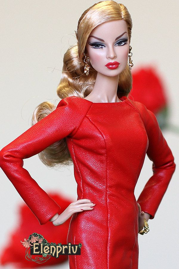 ELENPRIV Red leather dress with full satin lining for Fashion royalty FR2 and similar body size dolls. by elenpriv on Etsy