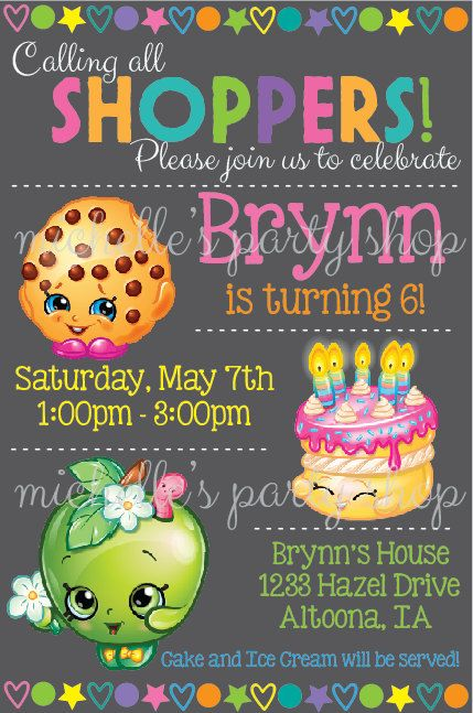 NEW  PRINTABLE FILE Shopkins Birthday Invitations by mlf465