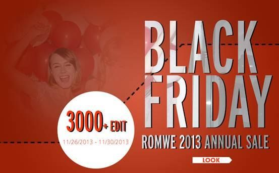 Romwe Black Friday Sale Up to 75% off, over 3000+ styles Biggest discount! Most styles ever! Date: 11/26/2013 -11/30/2013 Go: http://www.romwe.com/?Pardonnemoicecaprice