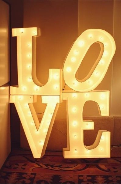 Cute decoration!!!! Sums you guys up xxx hahaha!: Receptions Decor, Photos Booths, Ideas, Lights Fixtures, Love Signs, Houses Decor, Love Is, Bright Lights, Letters