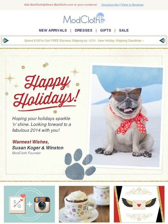 Modcloth holiday card with founder sign off
