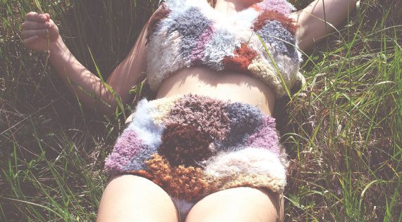Multi coloured one off handmade tufted high waisted knicker shorts and cropped top. Made from a mix of wool, cotton, and mohair. Lined in a jersey material. Fastenings ties attached at hips and under arm.  Perfect for summer festivals or costume use.  Size: would fit UK size 8