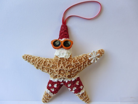 Starfish Christmas Ornament  Beach Themed Santa by CereusArt, $15.00