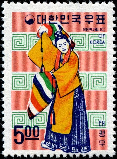 Traditional Korean dances, designed by Kang Choon-whan, printed by lithography, and issued by (South) Korea on June 15, 1967,                                                                                                                                                                                 More