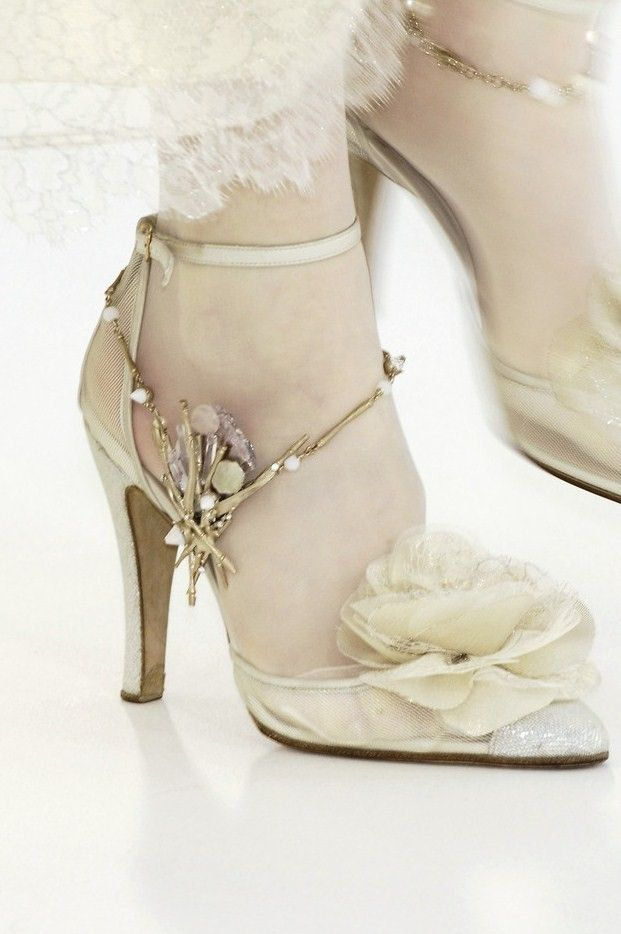 """Chanel sweet shoes with floral accent and a touch of dazzle. Chanel is the ultimate """"shabby chic."""""""