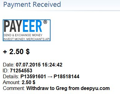 Received payments on 07/07/2015