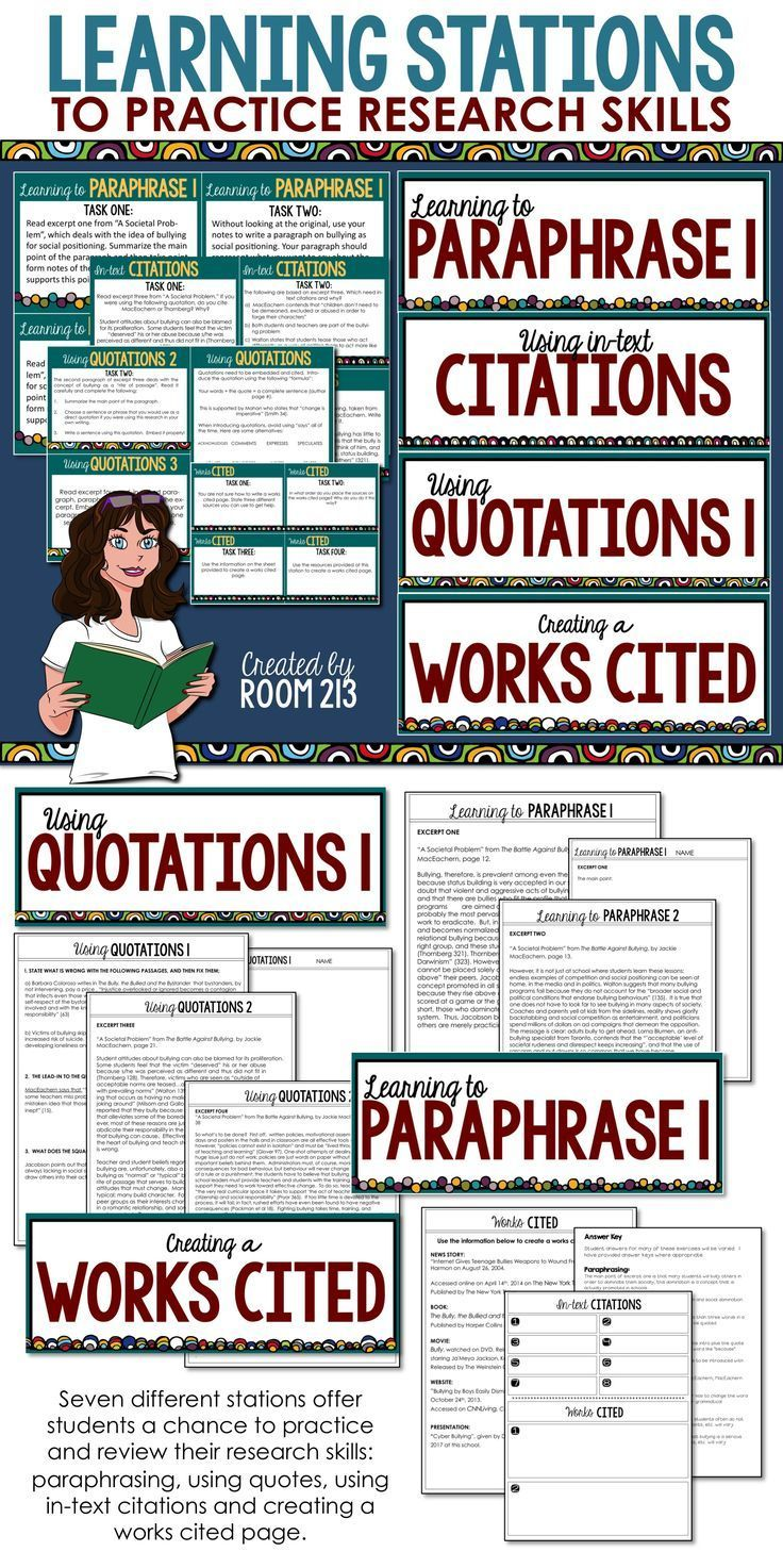 Check It Out Thi Engaging Activity For Teaching Research Skill Will Help Your Student Master Paraphrasin Writing Learning Stations Motivational Paraphrasing