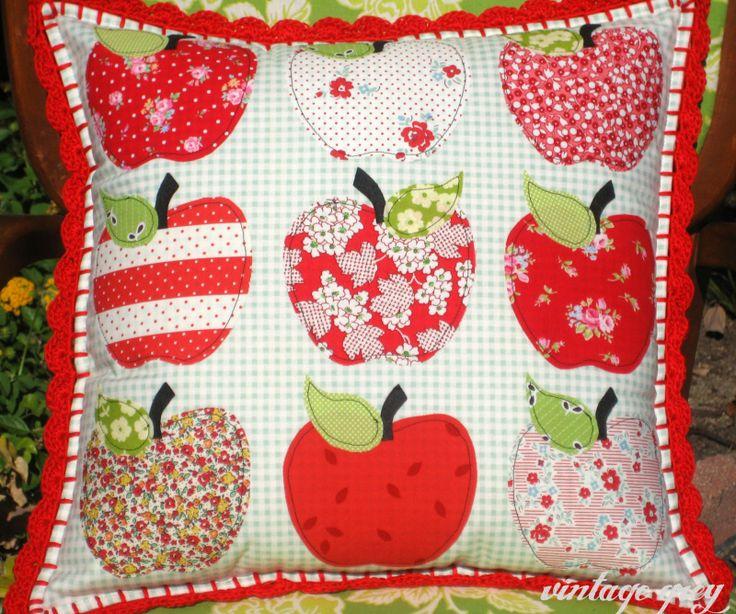 fall apple pillow with crochet edging!!  <3 <3 <3