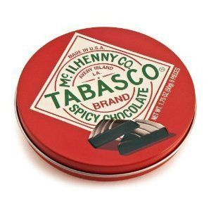 "Tabasco ""Spicy Dark Chocolate Wedges"" (One Tin Can) - http://mygourmetgifts.com/tabasco-spicy-dark-chocolate-wedges-one-tin-can/"