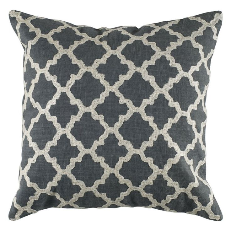 Rizzy Home Embroidered Trellis Pattern Decorative Throw Pillow