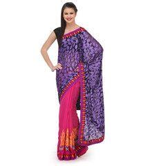 Purple and Magenta Brasso and Bhagalpuri Cotton Half and Half Saree   Fabroop USA   $46.00  