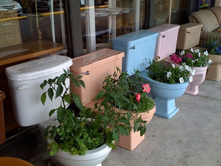 """What to do with crazy, colorful toilets?  Make a planter or a """"Hot Pot"""" Salsa Garden.Hot Pot,  Flowerpot"""