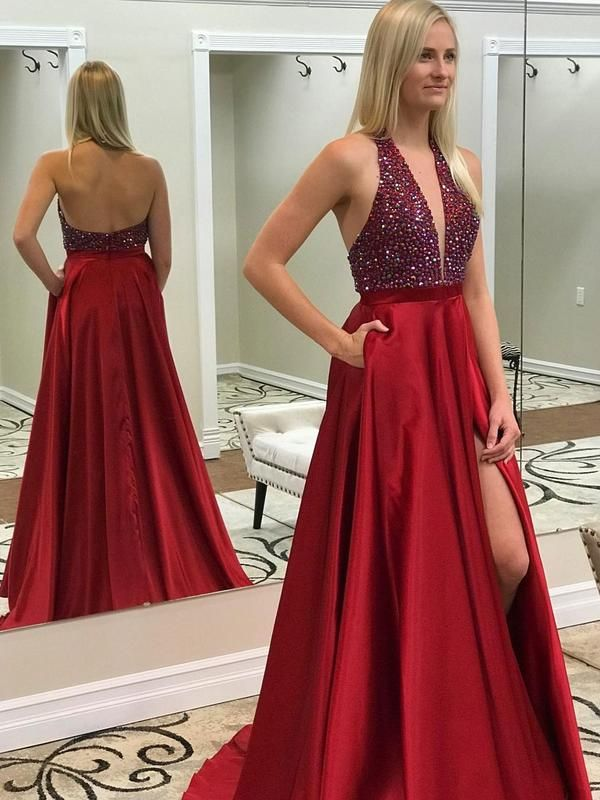aa9533670a5 Long Red Beaded Prom Dresses Deep V-neck Backless Formal Dress with Pocket  APD3377 in 2019