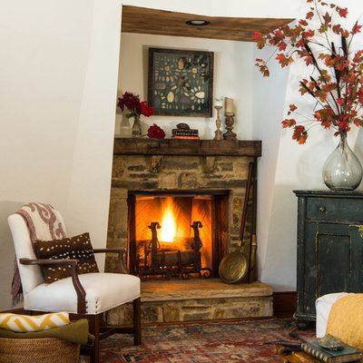 Fall Fireplaces and Mantels: Stone Fireplace