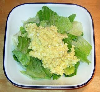 HCG Diet Phase 2 Egg Salad ~ 4 Hardboiled Eggs (discard 3 yolks), finely chopped 1 Tbsp Fage FF Yogurt Squirt of Mustard Salt and Pepper to taste  Mix everything up as desired and serve over lettuce leaves.