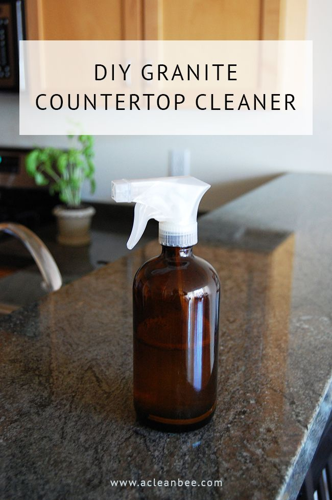 DIY granite countertop cleaner recipe using only dish soap, rubbing alcohol, essential oil, and water