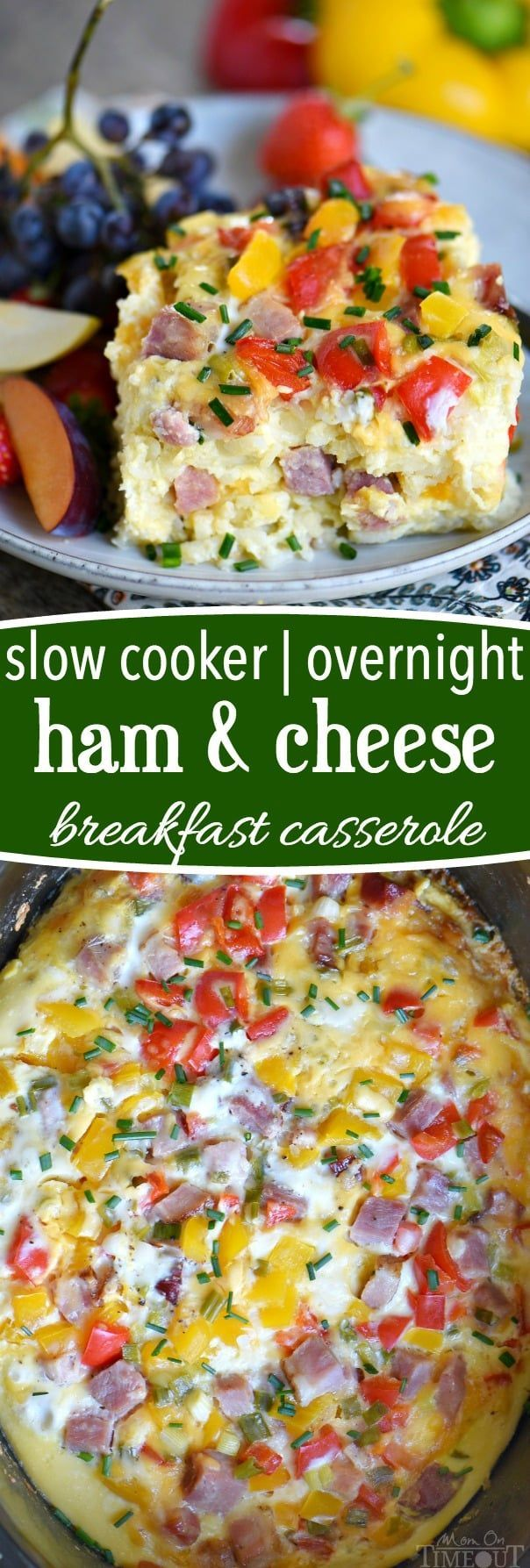 ThisSlow Cooker Overnight Ham and Cheese Breakfast Casseroleis a great way to start your day! Loaded with ham, cheese, potatoes, bell peppers, and more, this casserole is perfect for busy weekday mornings, holidays, or Sunday brunch! // Mom On Timeout