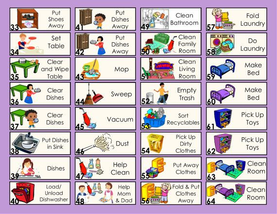 5 Extra Chore Tokens for Allowance Chore Chart or by MainlyCharts