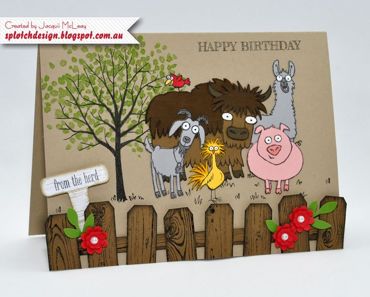 Splotch Design - Jacquii McLeay - Stampin Up - From the Herd Birthday Card