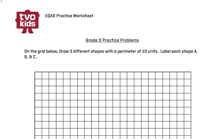 EQAO Grade 3 Perimeter Practice Worksheet. #tvokids #