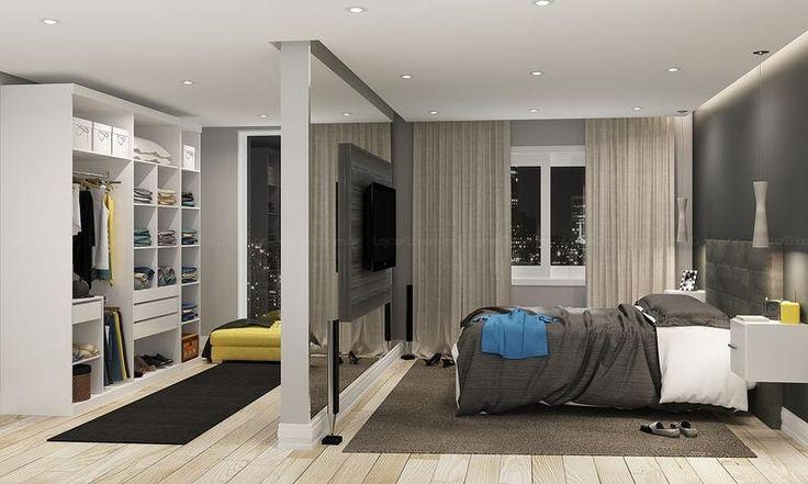 Quarto de Casal Completo de 14,10 m² com Cabeceira, Painel para TV, Guarda-roupa Closet Modulado e Nichos Suspensos Branco/Cinza/Grafite - C...