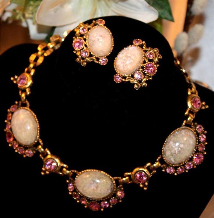 Vtg Pink Rhinestone & Quartz-Like White Glass Cabochon Necklace & ER Set- SELRO?