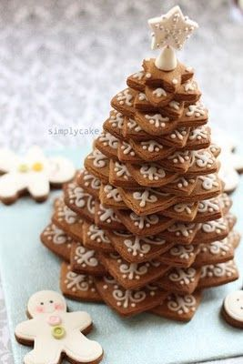 cut out 20 star shaped cookies using Wilton cookie tree cutter, pipe some sugar glaze ornaments, stacked them to form a christmas tree and then top with a fondant white star
