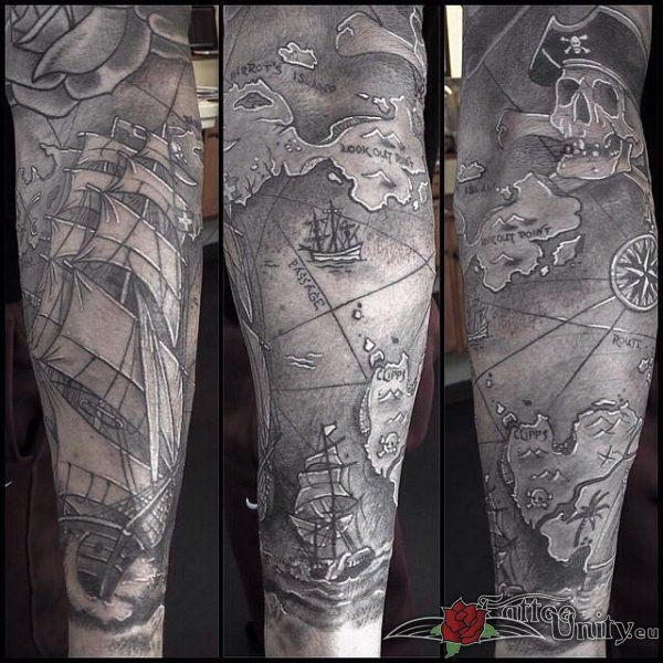 pirate ship and map 3d tattoos in grey