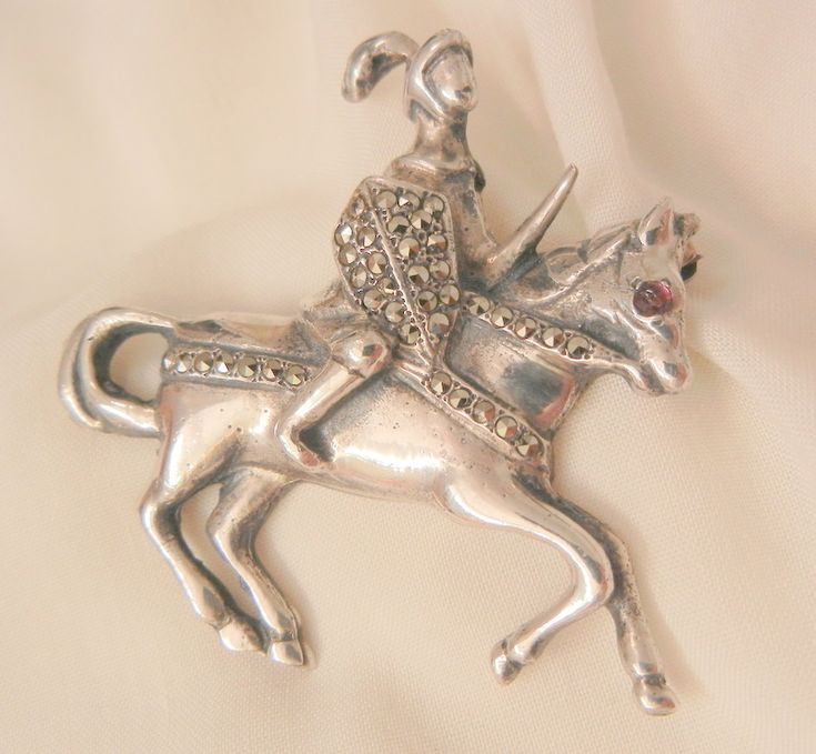 Todays fantastic arrivals Rare Sterling knight in marcasite armor on horse Brooch Brandt Circa 20's