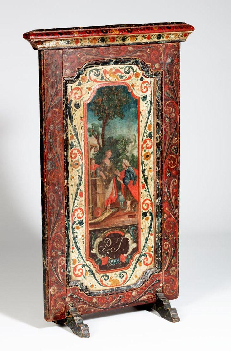 Haardscherm beschilderd met bijbelse voorstellingen.