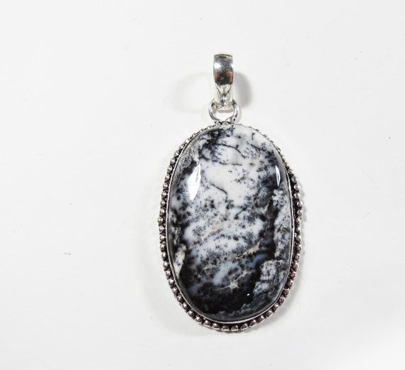 Gemstone Pendant, Dendritic Agate Opal Gemstone, Sterling Silver Pendant, 59x31mm, Dendrite Necklace, Dendrite Jewelry, Gemstone Necklace