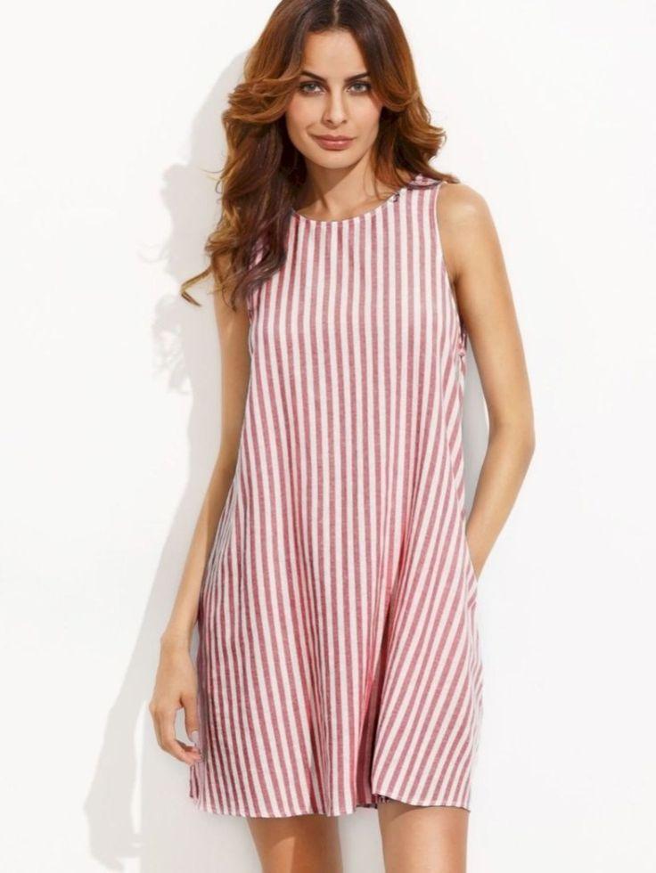 30 Red White Striped Sleeveless Dress for Summer