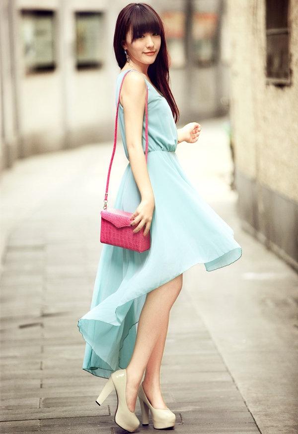 Asymmetric Pretty Blue Dress $45.00