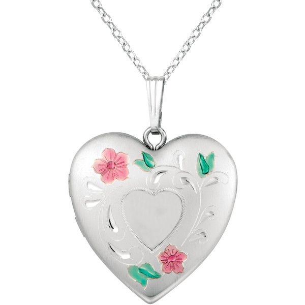 Sterling Silver Flower Design Heart Locket Necklace ($27) ❤ liked on Polyvore featuring jewelry, necklaces, floral necklace, green necklace, pink heart necklace, sterling silver heart jewelry and sterling silver locket necklace