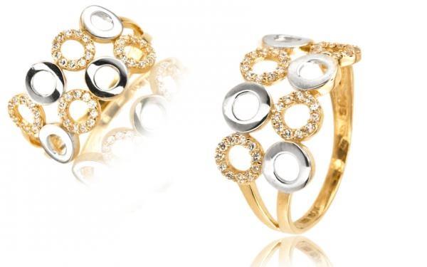 Zlatý dámsky prsteň dvojfarebný