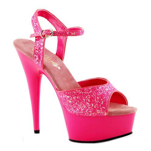 Neon roze glitter sandalen Caydence. Roze glitter sandalen met peep toe. Deze roze sandalen hebben een verstelbaar enkelbandje en een hakhoogte van ongeveer 15 cm. Andere kleuren zijn ook verkrijgbaar in onze webshop.