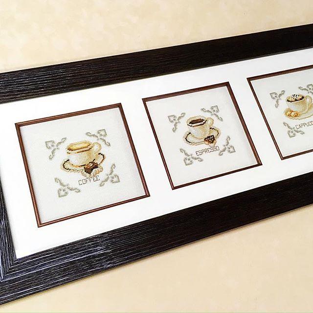 Серия кофейных вышивок от Vervaco. Деревянный багет, слип, художественное стекло.  custom framing