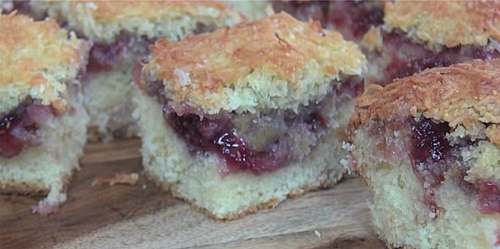 The easiest raspberry and coconut slice