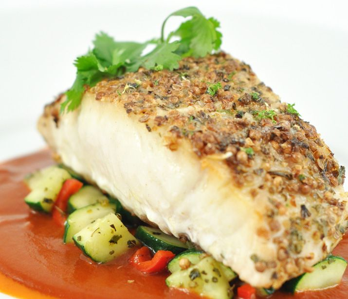 coriander crusted corvina with saut ed zucchini and red